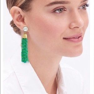 J. Crew green gold bras beads tassel earrings